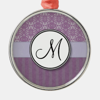 Silver on Lavender Damask with Stripes & Monogram Metal Ornament