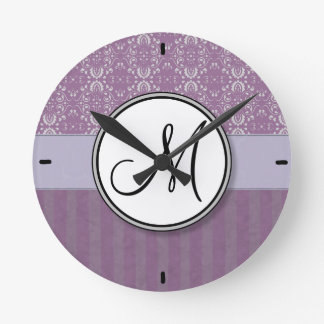 Silver on Lavender Damask with Stripes & Monogram Round Clock
