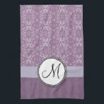 "Silver on Lavender Damask with Stripes &amp; Monogram Towel<br><div class=""desc"">A seamless digital pattern image of silver grey and lavender purple damask on top,  and aged vintage silvery violet and lavender satin style stripes on the bottom,  with a ribbon overlay with a customizable monogram text seal.</div>"