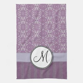 Silver on Lavender Damask with Stripes & Monogram Towel