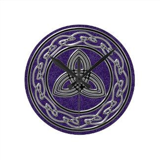 Silver on Purple Celtic Wheel and Trinity Clock