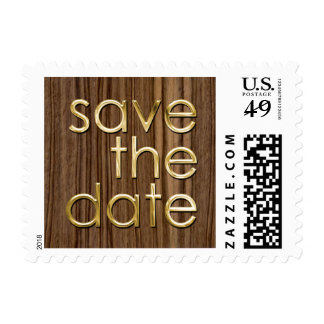 Silver or Gold Save the Date on Wood Background Postage Stamp