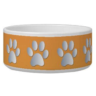 Silver orange pawprints beautiful pet dog bowl