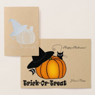 Halloween Themed Silver Orange Pumpkin, Witch Hat, & Black Cats Foil Card
