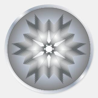 Silver ornamen design classic round sticker