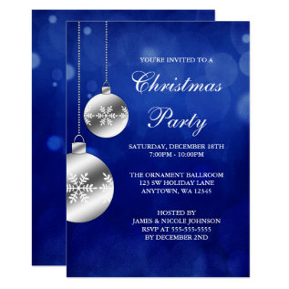 Silver Ornaments Blue Bokeh Christmas Party Card at Zazzle