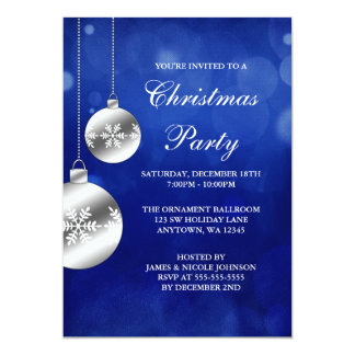 Silver Ornaments Blue Bokeh Christmas Party Card