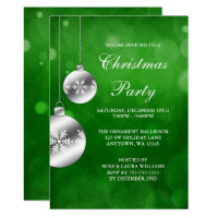 Silver Ornaments Green Bokeh Christmas Party Card