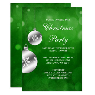 Silver Ornaments Green Bokeh Christmas Party Card