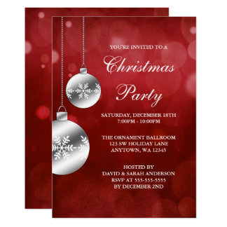 Silver Ornaments Red Bokeh Christmas Party Card