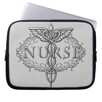 Silver Oval Caduceus Nurse Computer Sleeve
