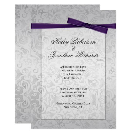 Silver Overlay Purple Ribbon Bow Post Wedding Invitation