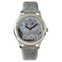 Silver owl, child clock with glitter bracelet wristwatch