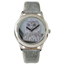 Silver owl, child clock with silver clock volume wrist watch
