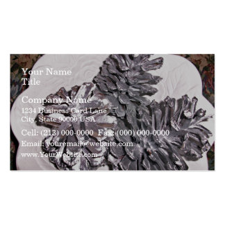Silver painted pine cones business card templates