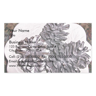 Silver painted pine cones business card template