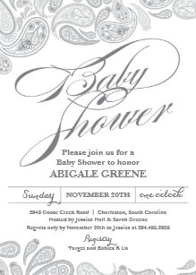 Paisley baby shower invitations zazzle silver paisley baby shower invitation filmwisefo
