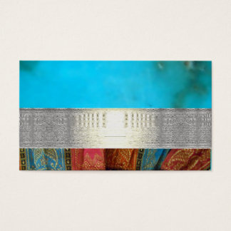 Silver Pattern Egyptian Indian Blue Business Cards