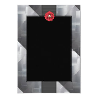 Silver Pattern & Red Flower Invitations