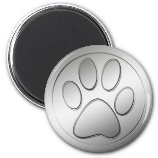SILVER PAW PRINT 2 INCH ROUND MAGNET