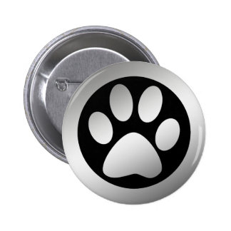 SILVER PAW PRINT PINBACK BUTTONS