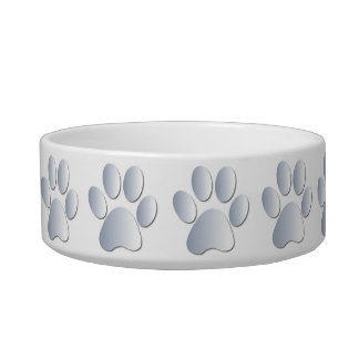 Silver pawprints beautiful pet cat bowl, gift bowl