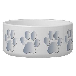 Silver pawprints beautiful pet dog bowl, gift bowl