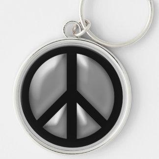 Silver Peace Keychain