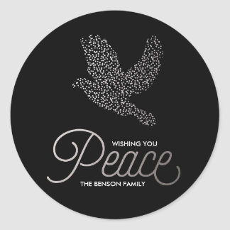Silver Peaceful Dove Holiday Gift Tag Sticker