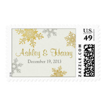 Silver Pearl Gold Snowflake Winter Wedding Postage