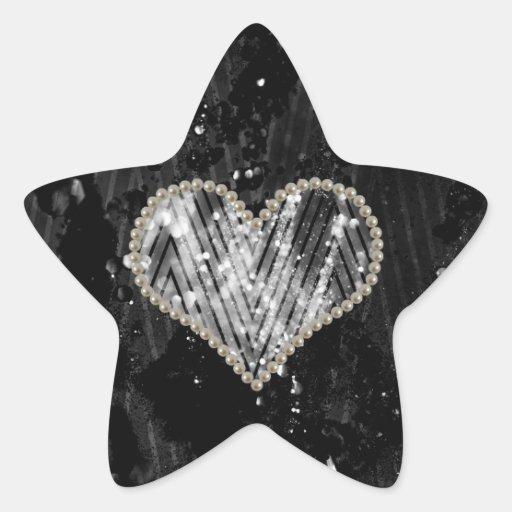Silver Pearl Heart Star Sticker