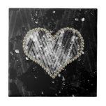 Silver Pearl Heart Tile