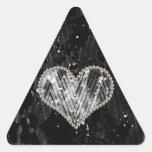 Silver Pearl Heart Triangle Sticker