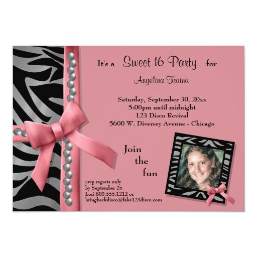 """Silver Pearls and Pink With Zebra Stripes 5"""" X 7"""" Invitation Card"""