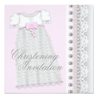 Silver Pearls Gown Baby Girl Pink Christening Card