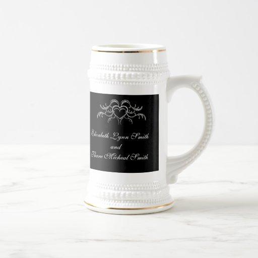 Silver Pearls Vintage Wedding Stein Mug