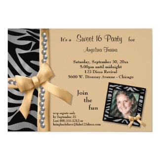Silver Pearls With Gold Zebra Stripes 5x7 Paper Invitation Card