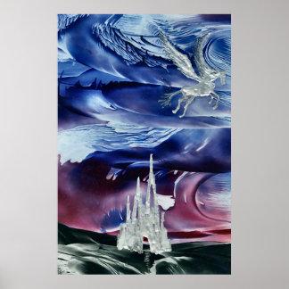 Silver Pegasus over Castle Poster