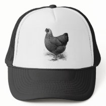 silver penciled wyandotte hen trucker hat