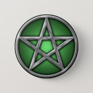 Silver Pentacle on Green Pinback Button
