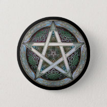 Silver Pentacle Round Button