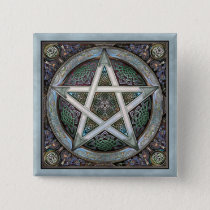 Silver Pentacle Square Button