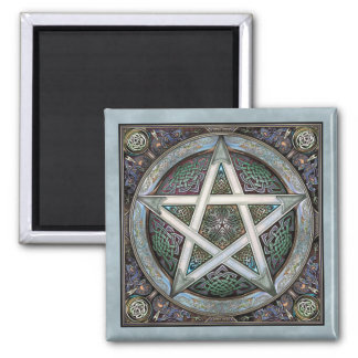 Silver Pentacle Square Magnet