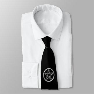 Silver pentagram neck tie