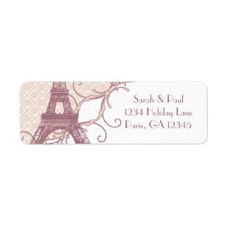 Silver Peony Damask Mauve Vintage Eiffel Tower Label