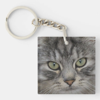 Silver Persian Cat Face Acrylic Key Ring