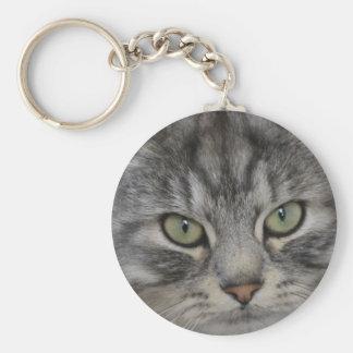 Silver Persian Cat Face Key Ring