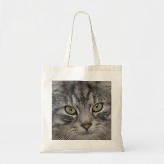 Silver Persian Cat Face Tote Bag