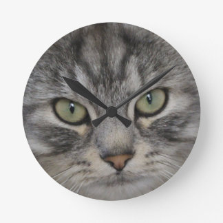 Silver Persian Cat Face Wall Clock