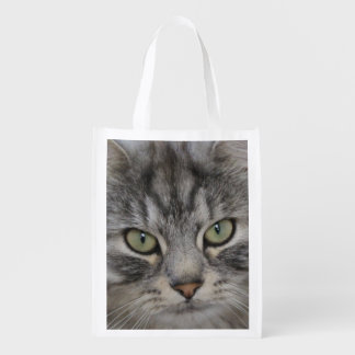 Silver Persian Tabby Cat Face Reusable Bag Market Totes